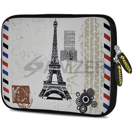 Designer 10.5 Inch Soft Neoprene Sleeve Case Pouch for Samsung Galaxy Tab A 10.1 2016, Tab 4 10.1, LG G Pad X 10.1, ASUS ZenPad Z300M 10.1, Fire HD 10 Tablet - Paris