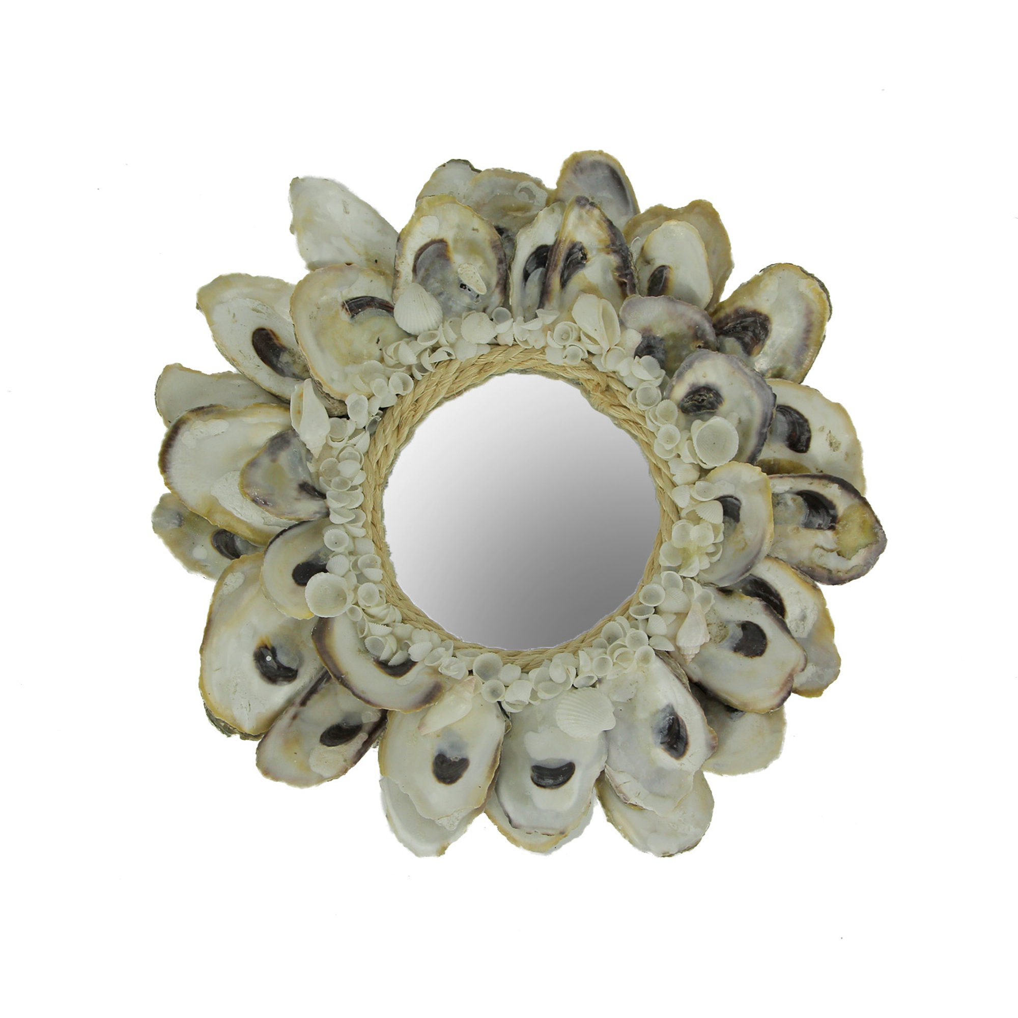 Natural Oyster Shell Frame Small Round Wall Mirror