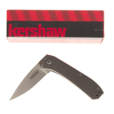 Kershaw Amplitude 2.5 (3870), Drop Point Pocket Knife with 2.5 Inch Blade in a Grey Finish, Features SpeedSafe Opening, Frame Lock and Reversible Pocket Clip