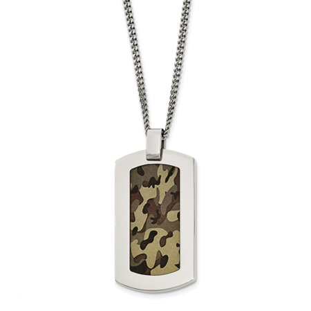 Stainless Steel Polished Printed Brown Camo Under Rubber Necklace 22in - image 3 de 3