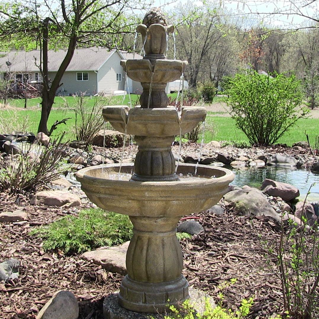 Sunnydaze Three Tier Outdoor Garden Water Fountain, 48 Inch Tall    Walmart.com