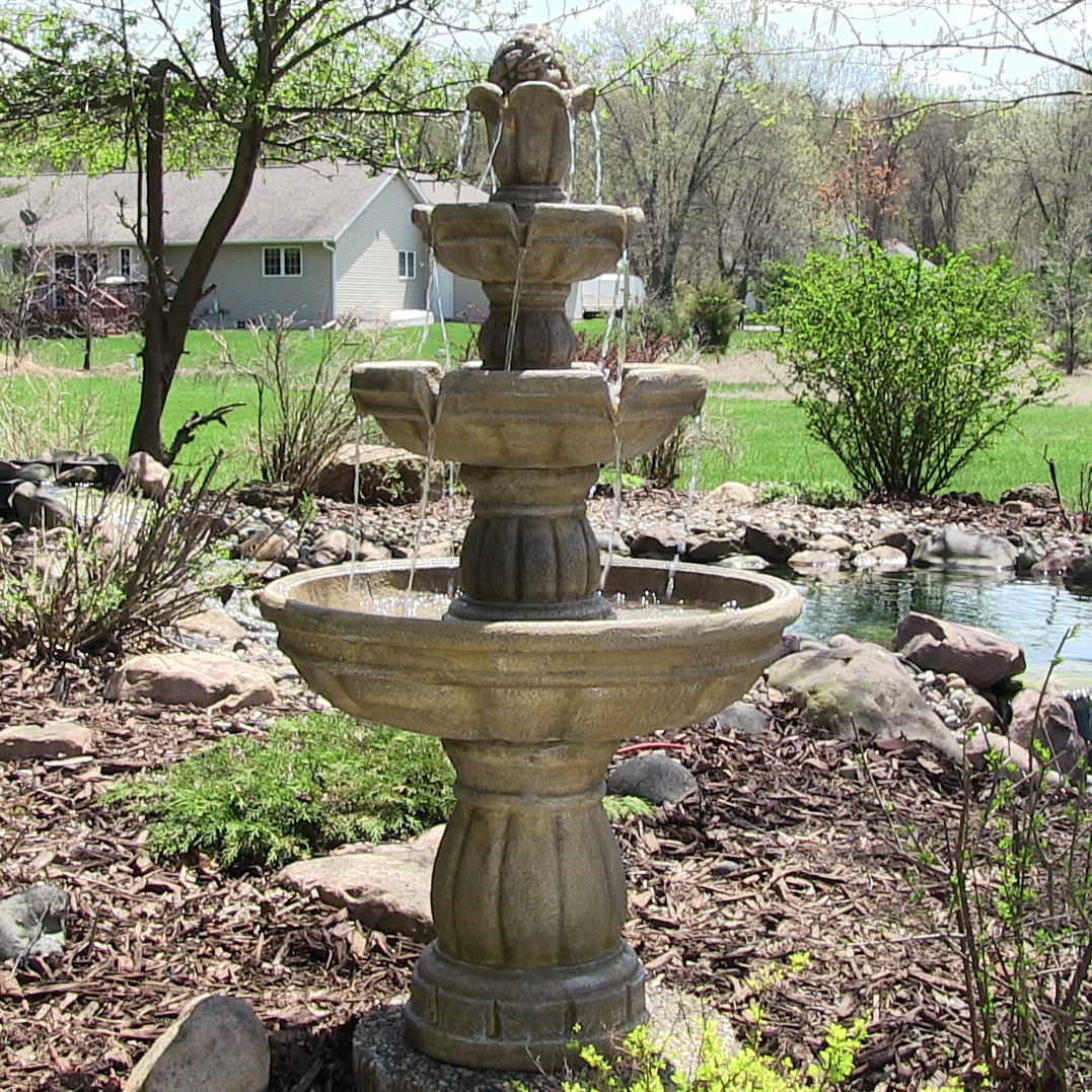 Sunnydaze Three-Tier Outdoor Garden Water Fountain, 48 Inch Tall