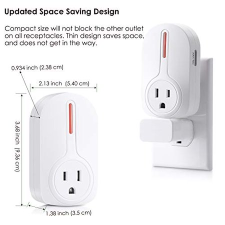 BESTTEN Wireless Remote Control Socket Outlet Switch Set (4 Electrical Outlets, 2 Remotes) with 110 Foot Range, Home - image 2 de 5