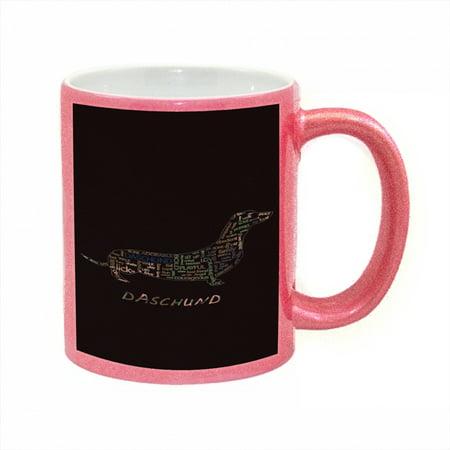 KuzmarK Pink Sparkle Coffee Cup Mug 11 Ounce - Daschund Camouflage ()
