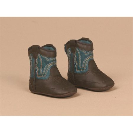 m&f western baby boy's bucker open range (infant/toddler) brown/turquoise boot 0 infant m](Baby Western Boots)