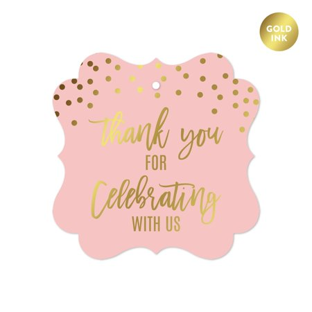 Blush Pink and Metallic Gold Confetti Polka Dots, Fancy Frame Gift Tags, Thank You for Celebrating with Us, 24-Pack
