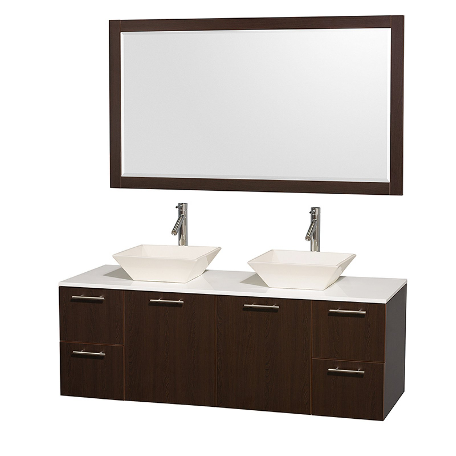 """Wyndham Collection Amare 60"""" Double Bathroom Vanity, Espresso with White Man-Made Stone Top with White Porcelain Sinks and 58"""" Mirror"""