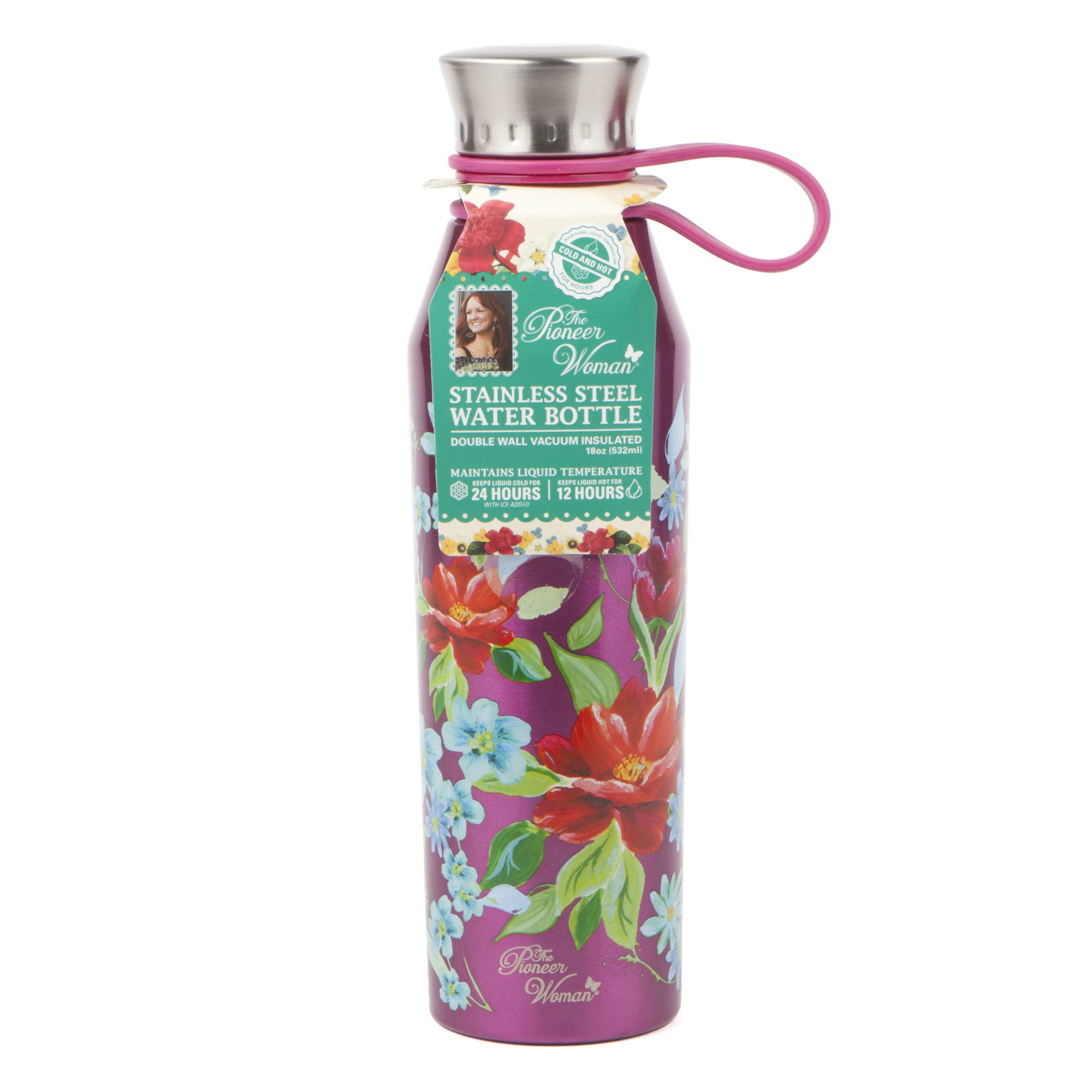 The Pioneer Woman 18oz Double Wall Vacuum Insulated Pink Stainless Steel Water Bottle by core home