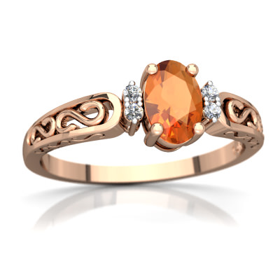 Fire Opal filligree Scroll Ring in 14K Rose Gold by