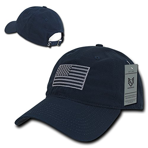 American Flag Embroidered Relaxed Cotton Adjustable Cap - NAVY