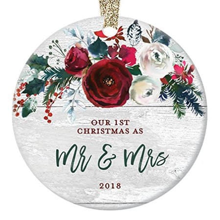 Modern Farmhouse Mr & Mrs Ornament 2018, 1st Christmas Married, First Gift for Newlywed Couple Bride Groom Rustic Present Ceramic Present 3
