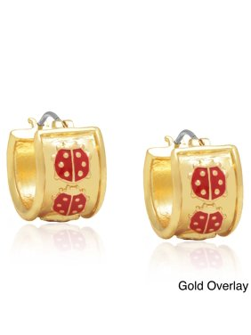 3a5b3d02c Free shipping. Product Image Molly and Emma 14k Gold Overlay or  Silverplated Red Ladybug Hoop Earrings SIlver Overlay