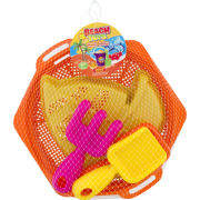 Beach Pan Set Plastic Tools Shovel Rake 5 piece Amloid Assorted Colors/Styles