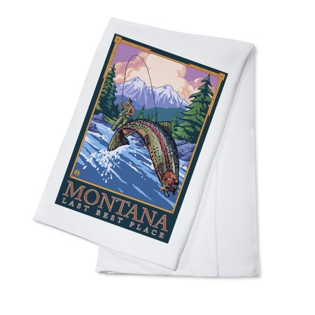 Montana, Last Best Place - Angler Fly Fishing Scene (Leaping Trout) - Lantern Press Original Poster (100% Cotton Kitchen