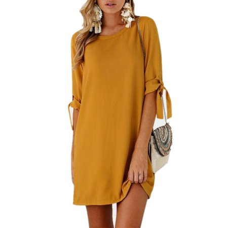 Womens Adjustable Long Sleeve O Neck Casual Mini Dresses (Medieval Dresses For Women)