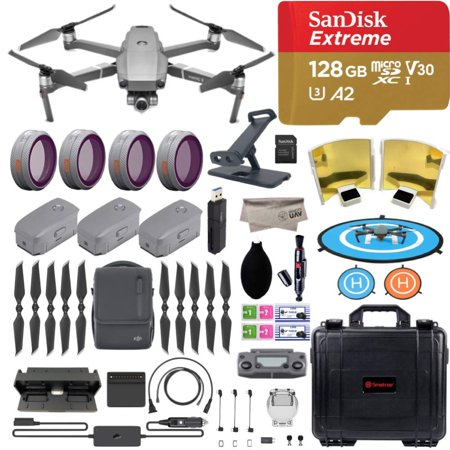 DJI Mavic 2 Zoom Drone Quadcopter, Fly More Combo, with 3 Batteries, PGY ND Filters and Pad Holder, 128GB Extreme Micro SD, Landing Pad, Signal Booster, Extra Hard Carrying Case, 1-YR Limited