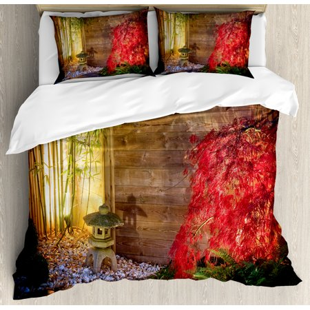 Bamboo Bedding (Garden Duvet Cover Set, Japanese Stone Lantern and Red Maple Tree in an Autumnal Zen Garden Bamboo Trees, Decorative Bedding Set with Pillow Shams, Multicolor, by Ambesonne )