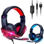 TSV Stereo Gaming Headset for PS4, Xbox One, Nintendo Switch, PC, Mac, Laptop, Over-Ear Headphones 3.5mm PS4 Headset Xbox One Headset with Surround Sound, LED Light & Noise Canceling Microphone