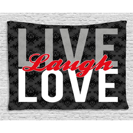 Live Laugh Love Decor Tapestry, Different Typed Words of Wisdom Victorian Antique Damask Motifs Tile, Wall Hanging for Bedroom Living Room Dorm Decor, 80W X 60L Inches, Multicolor, by Ambesonne ()