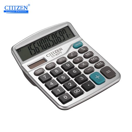 GTTTZEN CT-837V Desktop Calculator 12-Digit Basic Calculator Solar Battery Dual Power Calculator with Large LCD Display for Office