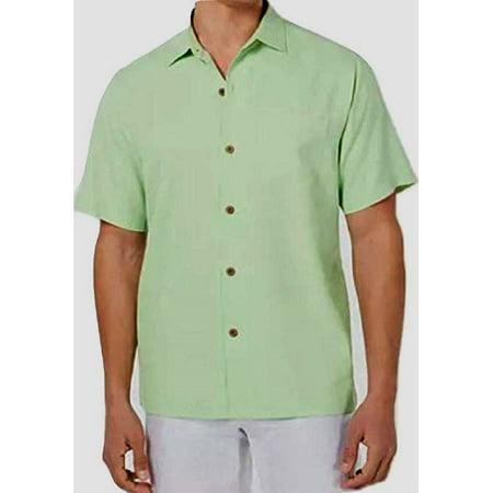 Tommy Bahama Micro Diamond Silk Camp Shirt, Glowing Green, X-Large - NEW Patchwork Camp Shirt