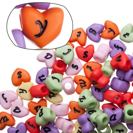 - Opaque Rainbow Colored Heart Alphabet Beads 11x10mm