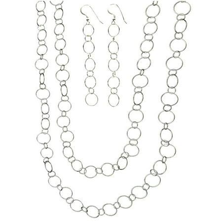 Long Italian - Sterling Silver Open Circle Links Earrings, Long Necklace Italy, 60