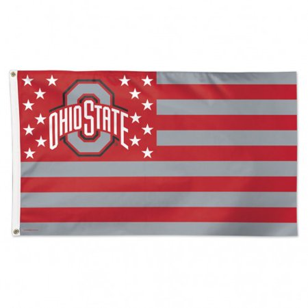 Ohio State Buckeyes Flag 3x5 Deluxe Style Stars and Stripes Design