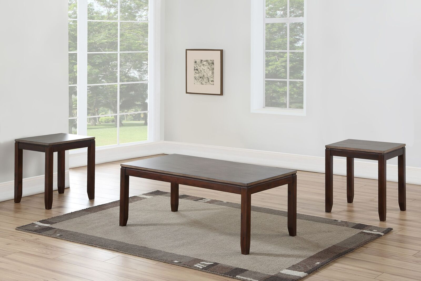 Steve Silver Alba 3 Piece Occasional Set With Gray and Brown Finish AB1000DK by Steve Silver