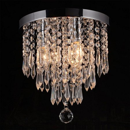 Hile Lighting KU300107 Crystal Chandeliers Flush Mount Ceiling Light Lamp,Diameter 11.0 Inch Height 11.8 Inch, 3
