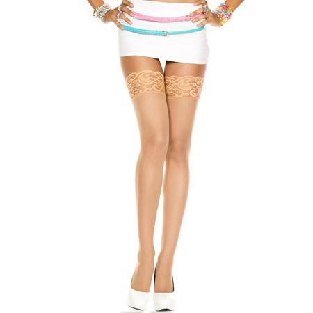 Sheer Black Lace Top - Lace top sheer thigh hi 4110-BEIGE