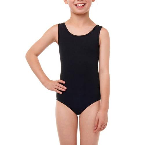 Danskin Now Girls Black Stretch Leotard W// Front Liner Elbow Sleeve Sz XL 14-16