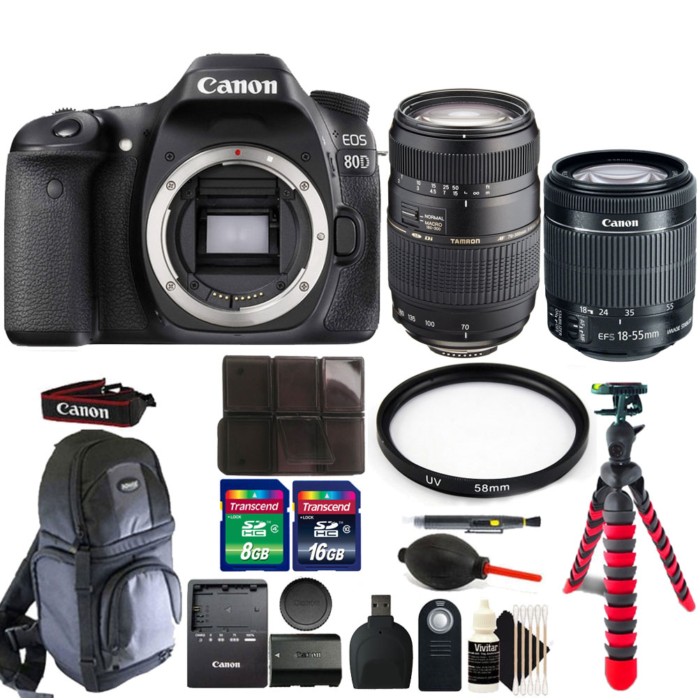 Canon EOS 80D 24.2MP Digital SLR Camera with 18-55mm & 70-300mm Lens + More