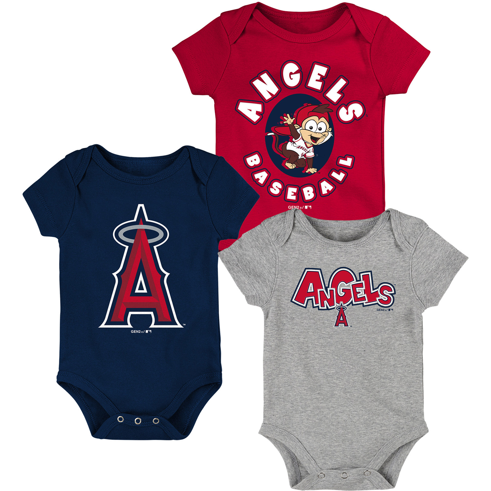 Los Angeles Angels Infant Everyday Fan Three-Pack Bodysuit Set - Red/Navy/Gray