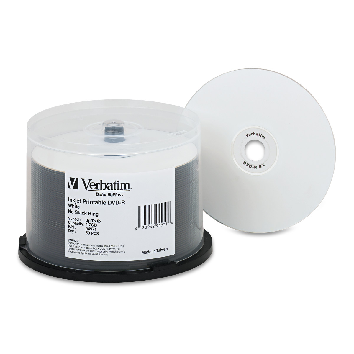 image relating to Printable Dvd Discs referred to as Verbatim DVD-R Discs 4.7GB 8X DataLifePlus White Inkjet Printable, 50/PK Spindle