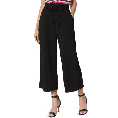 TheMogan Women's High Waisted Bow Belt Pocket Crop Wide Leg Capri Cut Culotte Pants - Flap Pocket Capri