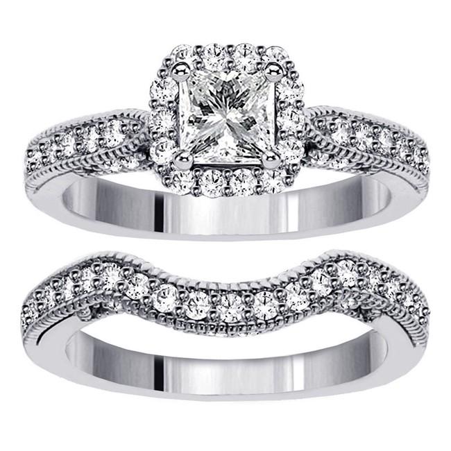 Jeenjewels 1 Carat Vintage Princess Cut Diamond Wedding Ring Set