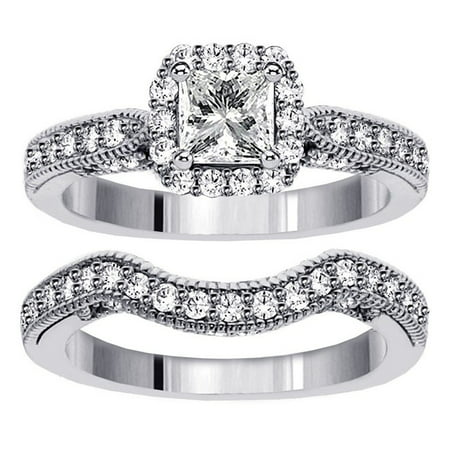 1 carat vintage princess cut diamond wedding ring set for women - Princess Cut Diamond Wedding Ring Sets