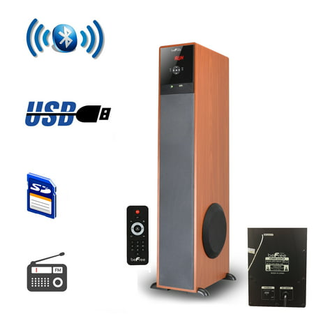 beFree Sound Bluetooth Powered Tower Speaker – Wood