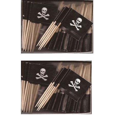 2 Boxes of Mini Jolly Roger Toothpick Flags, 200 Small Pirate Skull and Crossbones Flag Toothpicks or Cocktail Sticks & Picks](Pirate Flag Toothpicks)