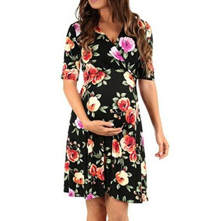 Pregnant Women Floral Wrap Belted Mini Dress V Neck Short Sleeve Maternity Dress