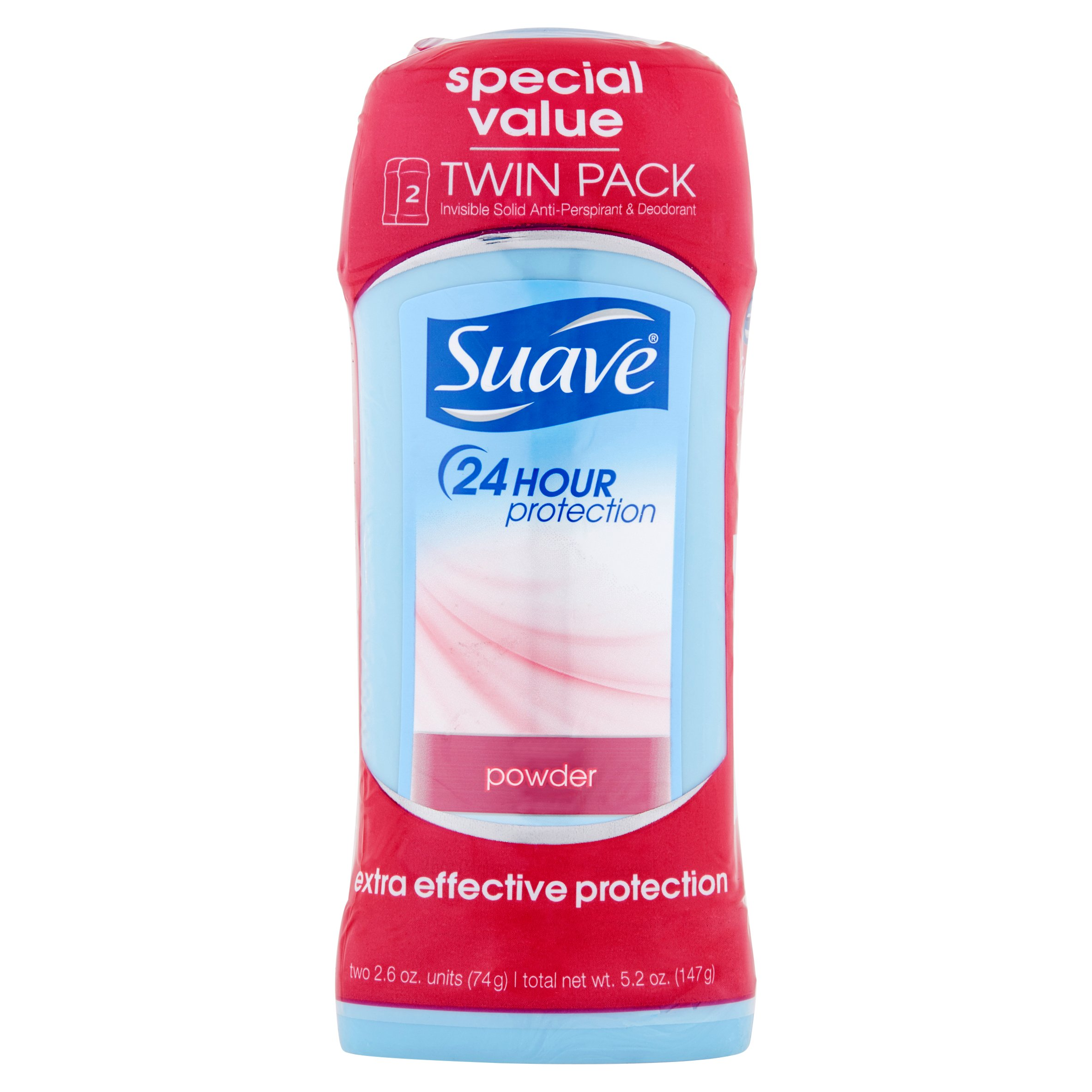 Suave Powder Antiperspirant Deodorant Stick 2.6 oz, Twin Pack
