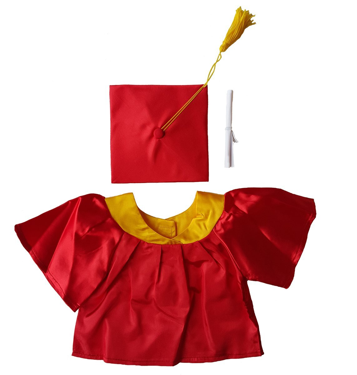 """Red Graduation Gown w Hat and Scroll Outfit Teddy Bear Clothes Fits Most 14"""" 18"""" Build-A-Bear,... by Animaland"""