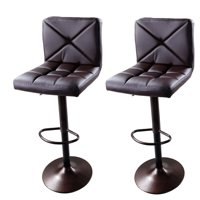 Ktaxon Set of 2 Brown PU Leather Modern Adjustable Swivel Hydraulic Chair Bar Stools with Back Coffee