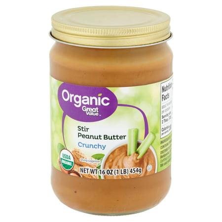(2 Pack) Great Value Organic Crunchy Stir Peanut Butter, 16 (Best Organic Peanut Butter Brand)