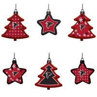 Atlanta Falcons Six-Pack Shatterproof Tree And Star Ornament Set - No Size