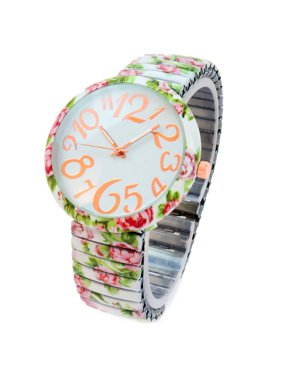 747ba560a Product Image White Roses Floral Print Large Face Easy to Read Stretch Band  Extension Women's Watch