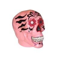 """Allstate 7.75"""" Spooky Life-Sized Day of the Dead Pink Skull Halloween Decoration"""
