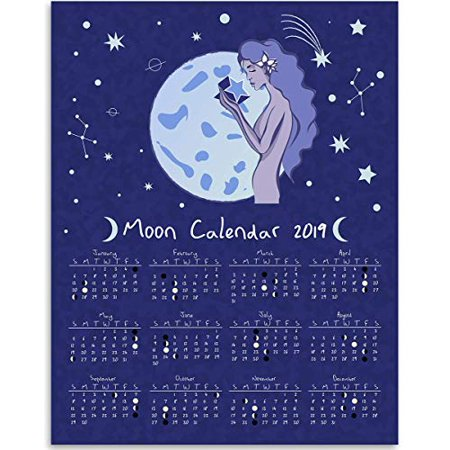 2019 Calendar   Moon Phases Lunar Calendar   Great Home Calendar