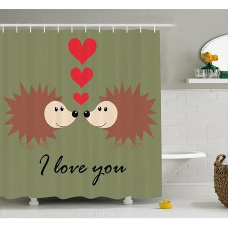 Hedgehog Shower Curtain Loving Couple Exchange Glances With Heart Figures And I Love You